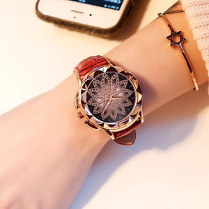 Rose Gold Women Watch Fashion Leather Strap