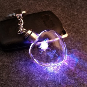 light LED key cover keychain for couples crystal key Flashlight chains key rings holder fantastic