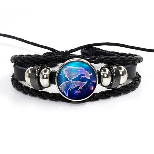Zodiac Signs Leather Unisex Bracelet