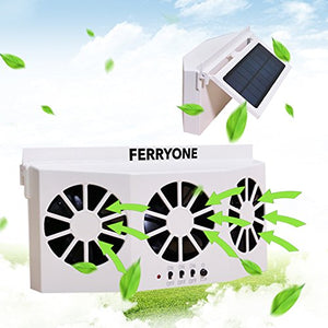 Ferryone Solar Powered Car Window Air Vent Ventilator,with Three-headed Fan ,Clear