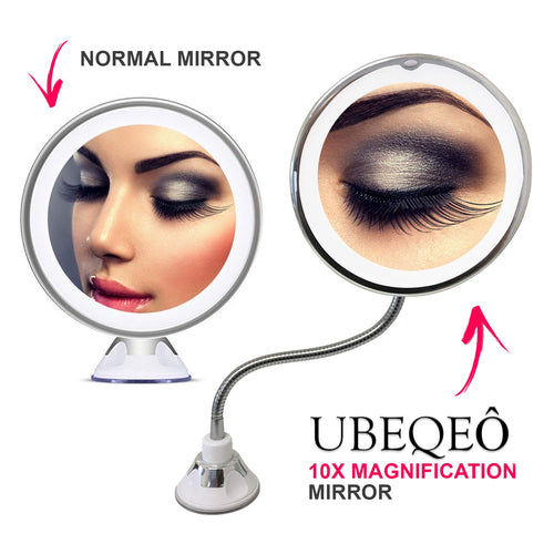 Flexible Gooseneck LED Lighted Makeup Mirror ...