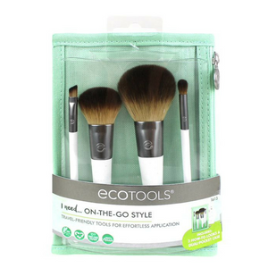 EcoTools On-The-Go Style Kit. The On-The Go Style Kit has all of your favorite travel-friendly tools for effortless application. This kit includes 4 eye brushes, 3 beauty look cards and cosmetic case. After sourcing recycled materials, renewable bamboo and better manufacturing processes, in 2007, EcoTools® was born. Organic beauty. Vegan. Vegan Beauty. Flawless Organics. Cruelty Free. Against animal cruelty. Award Winning. Natural. Makeup.