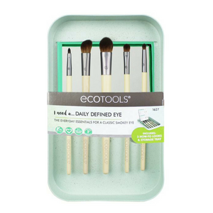 EcoTools Daily Defined Eye Kit. The Daily Defined Eye Kit is designed to create your favorite eye looks and organize your beauty space. This kit includes 5 eye brushes, 3 beauty look cards and storage tray. Flawless Makeup. Flawless Makeup brushes. Makeup brushes. Organic beauty. Vegan. Vegan Beauty. Flawless Organics. Cruelty Free. Against animal cruelty. Award Winning. Natural. Makeup.