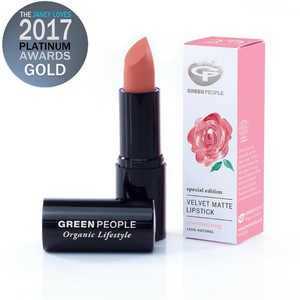 Green People Special Edition Velvet Matte Lipstick – Damask Rose. A universally flattering nude-rose lipstick with a non-drying matte finish. Timeless nude-rose shade that suits all skin tones. Lightweight, longwearing and comfortable matte finish. Highly pigmented colour from natural earth minerals. Enriched with soothing vitamin E to keep lips nourished. Non-drying formula with sustainable Beeswax and organic Carnauba wax. Organic beauty. Vegan. Vegan Beauty. Flawless Organics. Cruelty Free.