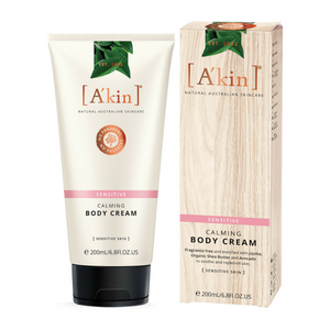 A'kin Sensitive Calming Body Cream 200ml. This fragrance free formulation combines certified organic Shea Butter, Macadamia and Echium Oil to deeply moisturise and soothe the skin for long lasting protective hydration that calms and nurtures sensitive skin. Perfect for use on irritated or sensitive skin. Daily body moisturising. Soothing dry and sensitive skin. Intensely hydrated, healthy looking skin. Organic beauty. Vegan. Vegan Beauty. Flawless Organics. Cruelty Free. Against animal cruelty.