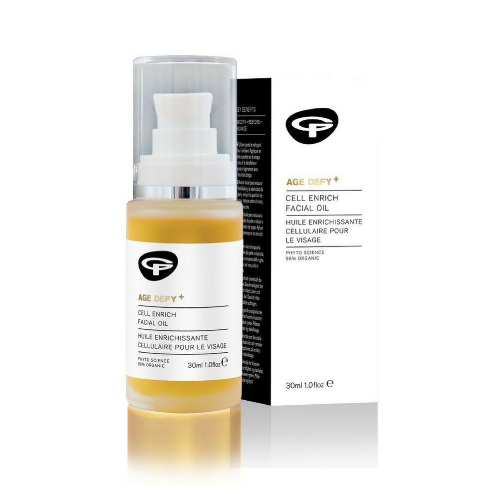 Green People Award Winning Age Defy+ Cell Enrich Facial Oil 30ml. This potent blend of skin nutrients, antioxidants and organic plant actives promotes youth and leaves your skin beautifully soft. Enriched with 20 beauty-enhancing actives for a youthful you. Restores your skin's suppleness and elasticity. Promotes cell regeneration, reducing appearance of wrinkles. Suitable for those who may have eczema and psoriasis. Organic beauty. Vegan. Vegan Beauty. Flawless Organics Cruelty Free Against animal cruelty.