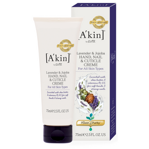 A'kin Replenishing Hand Cream 75ml. Enriched with jojoba, organic lavender and shea butter this rapidly absorbing cream soothes and nourishes hands and nails for long lasting protective moisture. Hands will feel soft, supple and intensively hydrated. Softer, more supple hands. Hydrated cuticles. Deep moisturisation. Organic beauty. Vegan. Vegan Beauty. Flawless Organics. Cruelty Free. Against animal cruelty. Award Winning. Natural. Makeup.