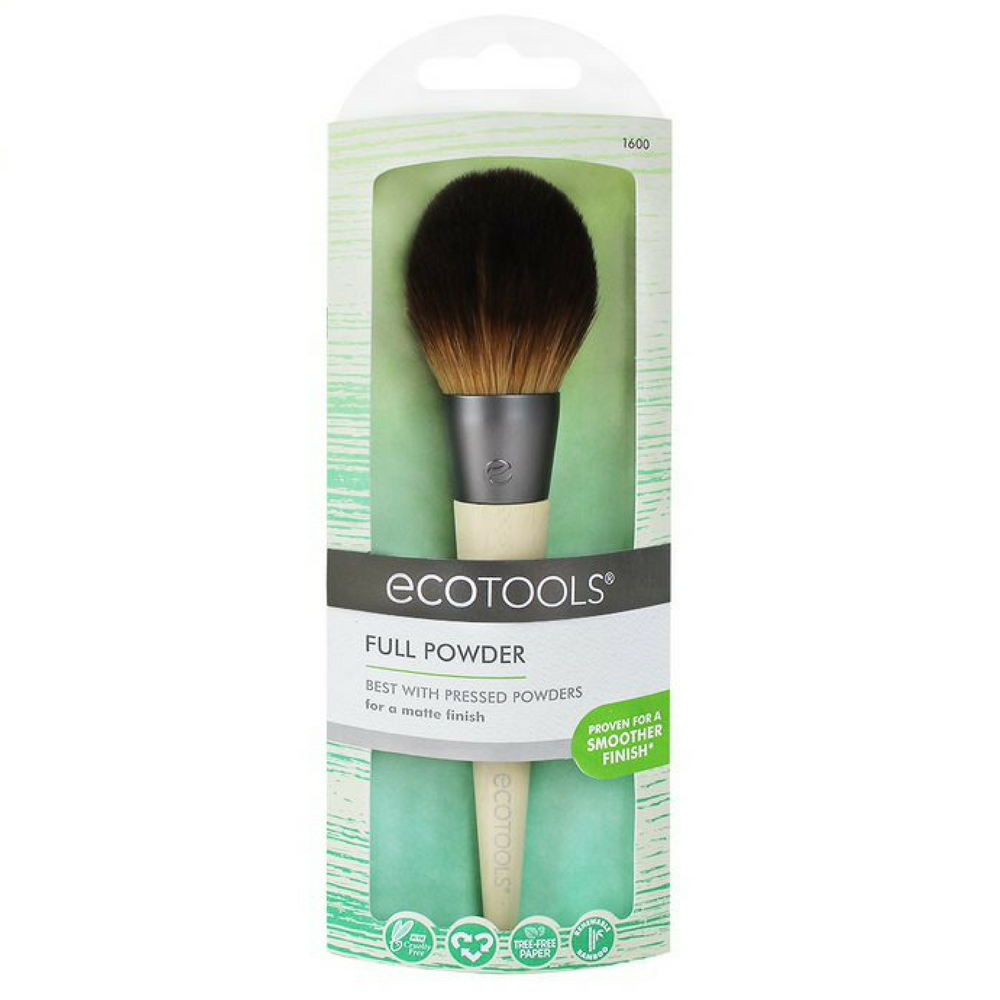 EcoTools Full Powder Brush. The Full Powder brush is designed with a large, dense, incredibly-soft head to evenly distribute and blend pressed powders for an everyday, matte look. After sourcing recycled materials, renewable bamboo and better manufacturing processes, in 2007, EcoTools® was born. Organic beauty. Vegan. Vegan Beauty. Flawless Organics. Cruelty Free. Against animal cruelty. Award Winning. Natural. Makeup.