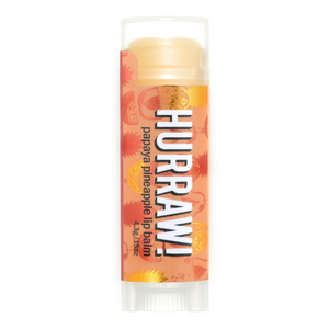 Hurraw! Papaya and Pineapple Lip Balm. Our papaya pineapple balm contains cold pressed papaya seed oil which has loads of moisturizing essential fatty acids and is great for the skin. Papaya seed oil also contains the enzyme papain, which is keen to quiet inflammation. The juicy duo of cold pressed papaya seed oil and natural pineapple flavor makes for a tropical treat! Organic beauty. Vegan. Vegan Beauty. Flawless Organics. Cruelty Free. Against animal cruelty. Award Winning. Natural. Makeup.