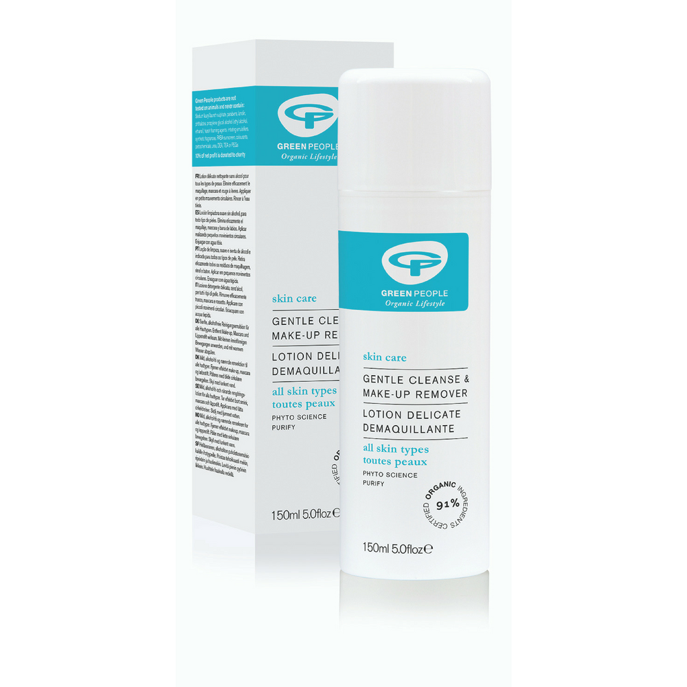 Green People Award Winning Gentle Cleanse & Make-up Remover 150ml. Purifying organic cleanser and make-up remover for all skin types. Gently removes all eye make-up including waterproof mascara Alcohol-free and rich in moisture-binding and anti-inflammatory actives. Cleanses away all impurities and leaves your skin silky smooth. Organic beauty. Vegan. Vegan Beauty. Flawless Organics. Cruelty Free. Against animal cruelty. Award Winning. Natural. Makeup.
