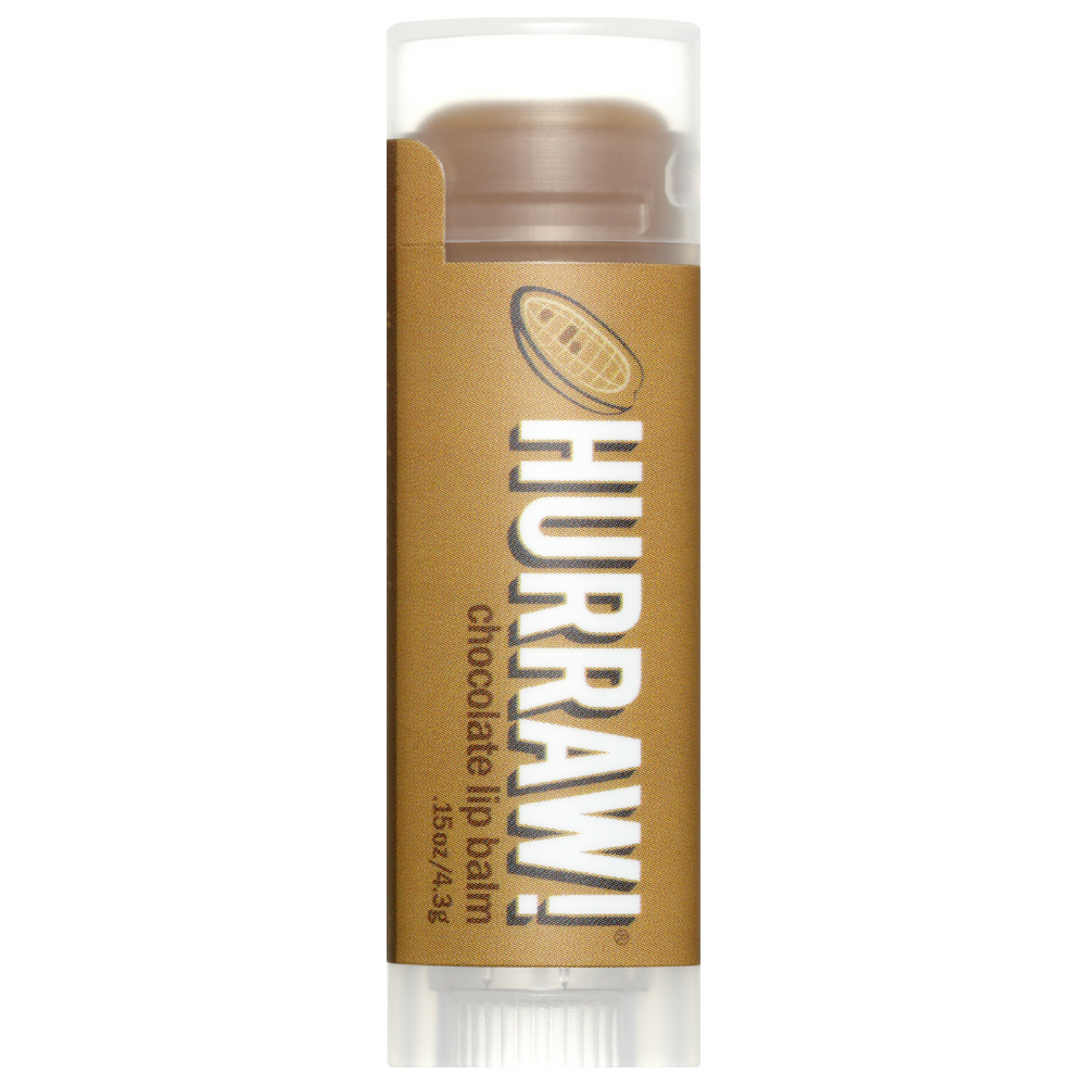"Hurraw! Chocolate Lip Balm. real unsweetened raw chocolate in the mix!  It won't leave any color on your lips but the creamy, ""tootsie-rollish"", chocolatey-ness will soothe your cravings! Suitable for all skin types. 83.1% Organic. *certified organic ingredients. 14.7% wild grown 100% natural. Organic beauty. Vegan. Vegan Beauty. Flawless Organics. Cruelty Free. Against animal cruelty. Award Winning. Natural. Makeup."
