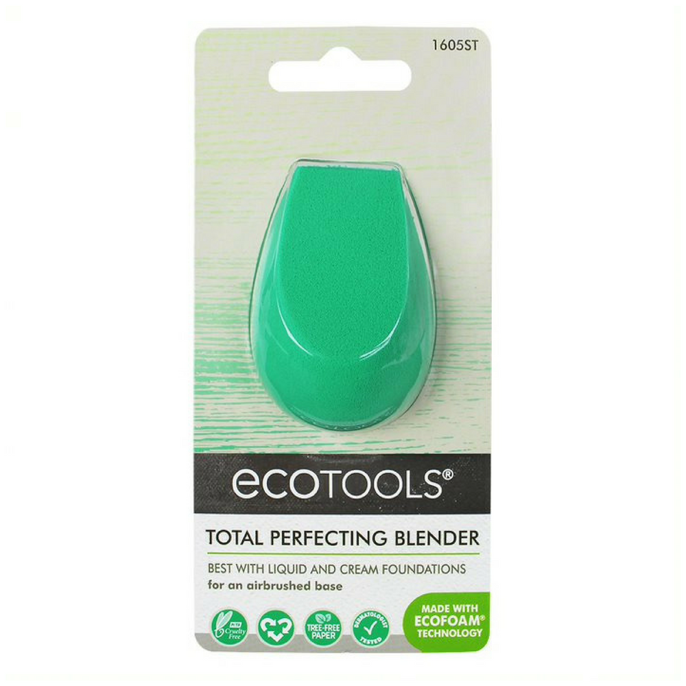 EcoTools Total Perfecting Blender. The Total Perfecting Blender is designed with EcoFoam® Technology to blend primer and foundation for flawless looking skin. Use sponge wet or dry. Organic beauty. Vegan. Vegan Beauty. Flawless Organics. Cruelty Free. Against animal cruelty. Award Winning. Natural. Makeup.
