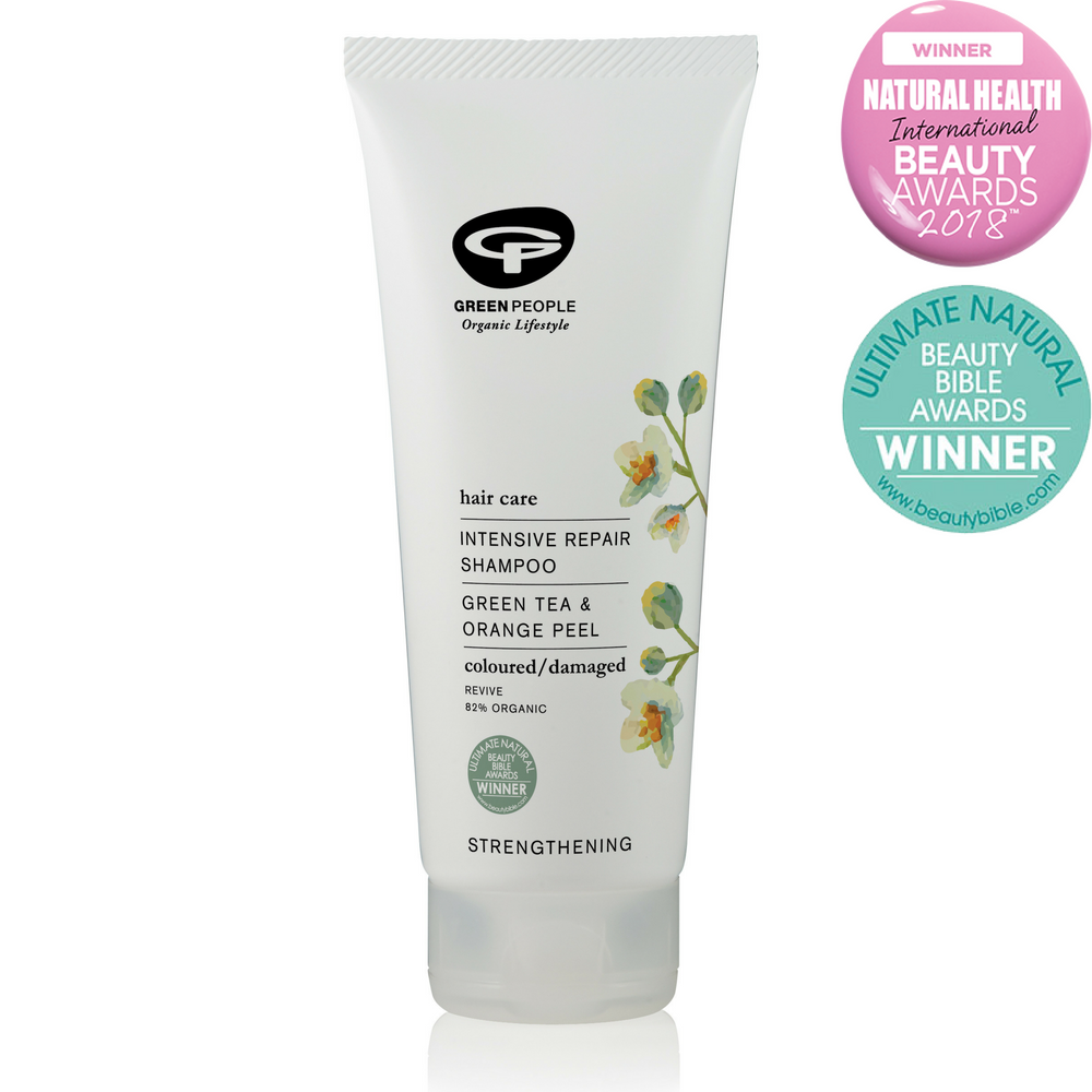 Green People Intensive Repair Shampoo 200ml. For dry, coloured, chemically-treated & frequently blow-dried hair. Strengthens damaged hair. Rich in nutrients and proteins. Now with NEW colour-lock system. Quinoa Protein helps limit colour fade. Organic beauty. Vegan. Vegan Beauty. Flawless Organics. Cruelty Free. Against animal cruelty. Award Winning. Natural. Makeup.