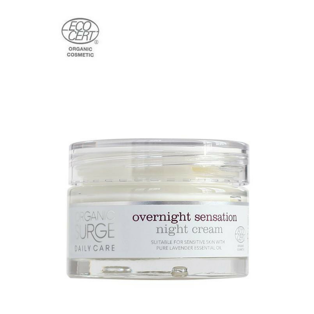 Organic Surge Overnight Sensation Night Cream 50ml. A feast for the skin.One of the best selling night cream with lavender essential oil to both calm the skin and relax your mind, also contains nourishing cocoa and shea butters, working whilst you sleep to help reveal your natural beauty. Overnight Sensation Night Cream restores, revitalises and rehydrates all skin types. Organic beauty. Vegan. Vegan Beauty. Flawless Organics. Cruelty Free. Against animal cruelty. Award Winning. Natural. Makeup.
