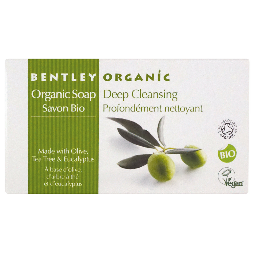 Bentley Organic Deep Cleansing Soap Bar. This deep cleansing soap bar with Tea tree and Eucalyptus scented soap has antibacterial properties and help deeply cleanse the skin, leaving it feeling soft and refreshed. Olive, Tea Tree and Eucalyptus oils provide a Deep Cleansing washing experience for you and the whole family. Invigorate your body and mind. Tea Tree Oil provides the natural antibacterial agent, ensuring a deep cleanse. Organic beauty. Vegan. Vegan Beauty. Flawless Organics.