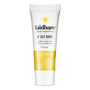 Laidbare In Safe Hands Sunflower hand cream 50ml. Laidbare Sunflower hand cream is the ultimate intensive moisture cream for very dry hands. Organic shea butter has the ability to spread evenly and absorb almost instantly into skin, known for its intense healing properties and gives the hand cream a lovely consistency. Sunflower oil is perfect for distressed hard working hands; deeply moisturising. Vitamin C is an antioxidant known to rejuvenate and strengthen the skin. Organic beauty. Flawless Organics.