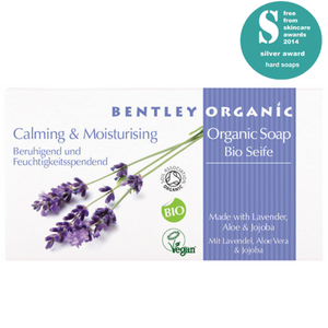 Bentley Organic Award Winning Calming & Moisturing Soap Bar. Lavender essential oil is known for its calming properties, the calming scent makes it an excellent tonic for the nerves and anxiety issues. Unlike many natural soaps on the market, Calming and Moisturising Soap Bar is certified Organic by the Soil Association. With an organic percentage of 98.9% this product far exceeds the standards. Vegan. Vegan Beauty. Flawless Organics. Cruelty Free. Against animal cruelty. Award Winning. Natural. Makeup.