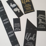 *POLYESTER TAPE LABELS [BLACK WITH GOLD FOIL OR METALLIC WHITE PRINT]