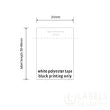 REPEAT ORDER POLYESTER TAPE LABELS [BLACK PRINT]