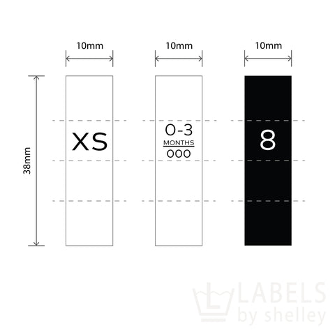 SATIN SIZE LABELS [WHITE or BLACK] - Labels by Shelley
