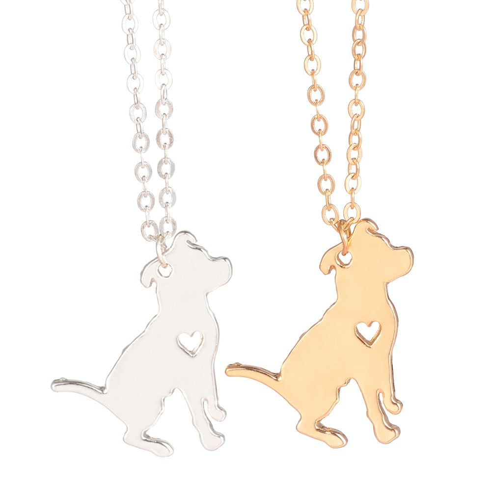 Pit Bull Necklace Pitbull Heart Necklaces | Gold, Silver
