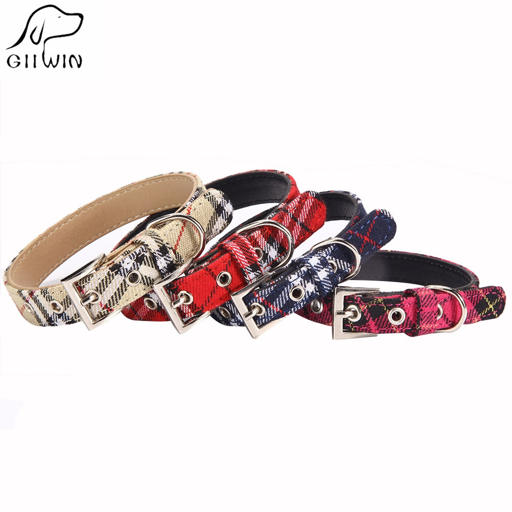Plaid Buckle Dog Collar