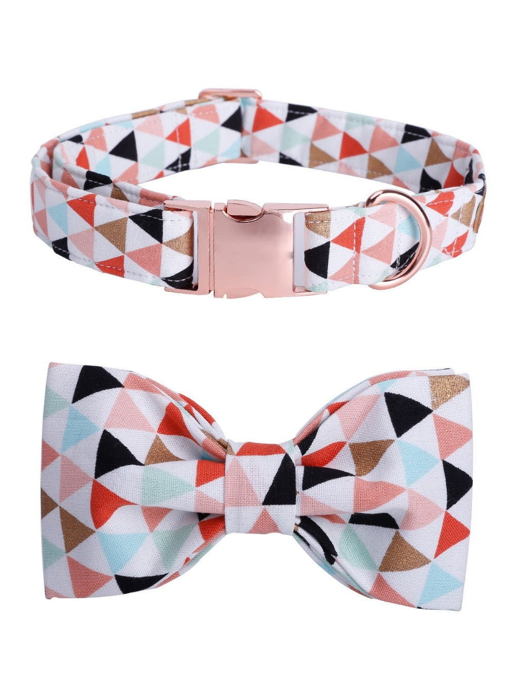 Geometric Pattern Collar, Bowtie and Leash set with Rose Gold colored buckle