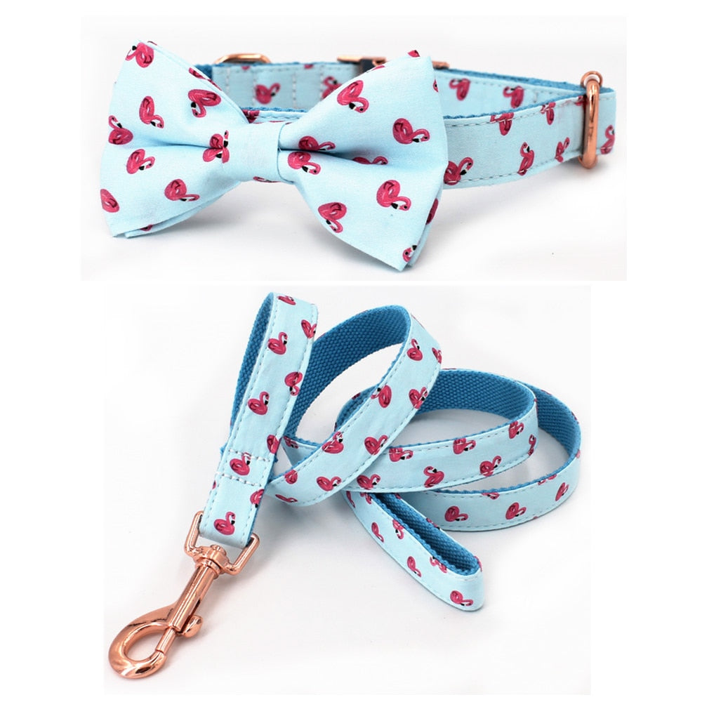 Flamingo dog collar and leash set with bow tie