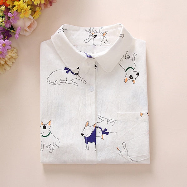 Cartoon Dog Pattern Blouse  | Women's Shirt | Long Sleeves Button Up