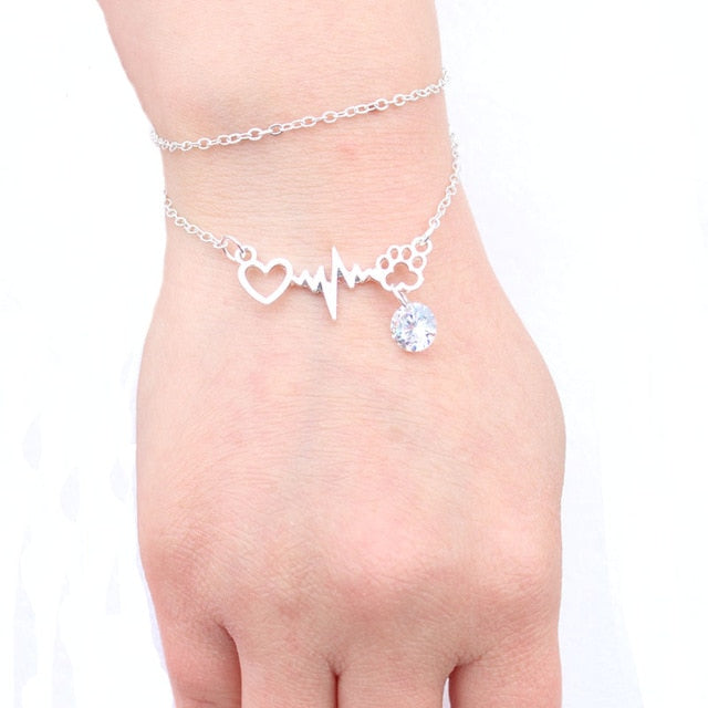 Dogs Paws and Heart Heartbeat Paw Bracelet with Zircon