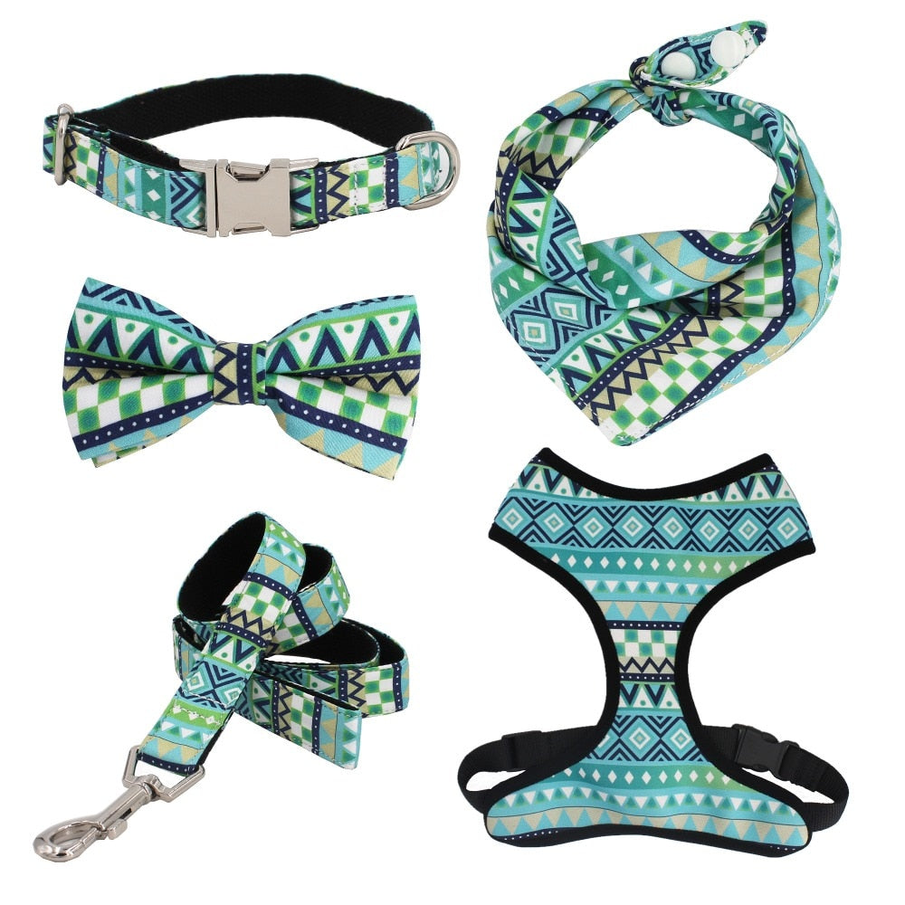 Blue and Green Geometric Dog collar, Bow leash, harness and bandana set