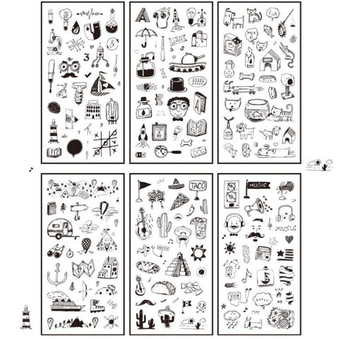 Black and White Diary Stickers - Package of 6 Sheets
