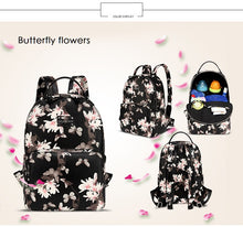 Leather look baby nappy backpack flower design from different angles
