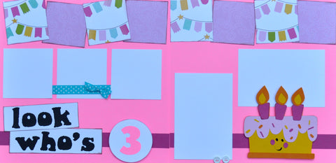 12x12 Premade Layout - Look Who's 3 (pink)