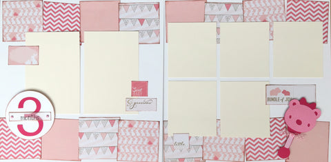 3 months (baby girl) - 12x12 Scrapbook Page Kit