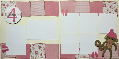 4 months (baby girl) - 12x12 Scrapbook Page Kit