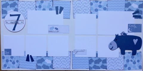 7 months (baby boy) - 12x12 Scrapbook Page Kit