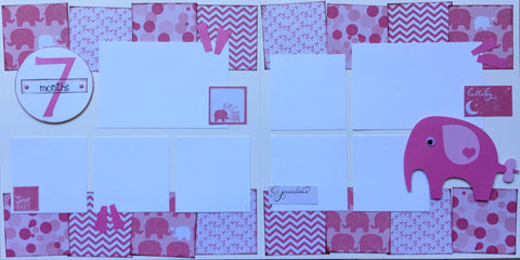 7 months (baby girl) - 12x12 Scrapbook Page Kit