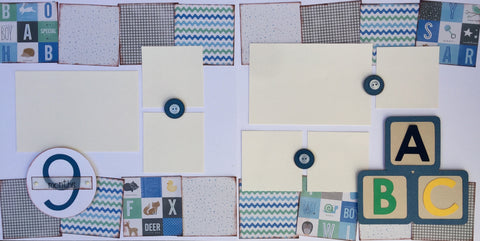 9 months (baby boy) - 12x12 Scrapbook Page Kit