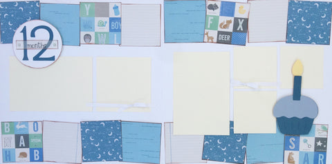 12 months (baby boy) - 12x12 Scrapbook Page Kit