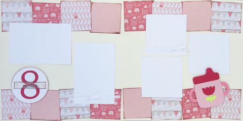 8 months (baby girl) - 12x12 Scrapbook Page Kit