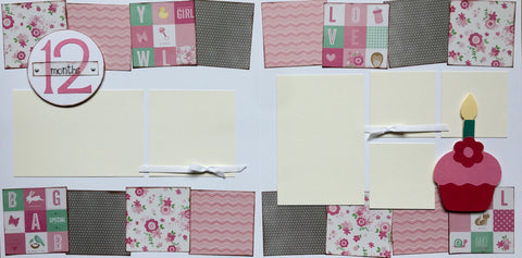 12 months (baby girl) - 12x12 Scrapbook Page Kit