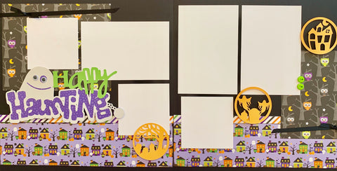 Happy Haunting (purple star title)- 12x12 Scrapbook Page Kit