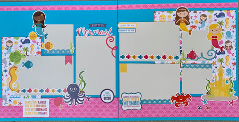 12x12 Premade Layout - I want to be a Mermaid
