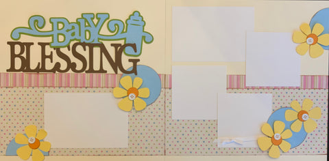 Baby Blessing/Blessings (blue) - 12x12 Scrapbook Page Kit