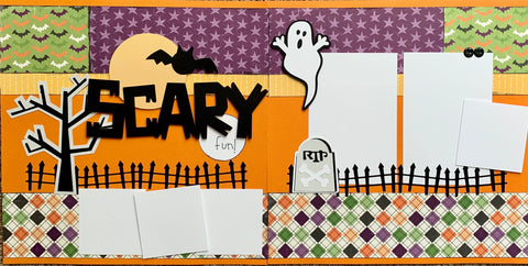 12x12 Premade Layout - Scary Fun