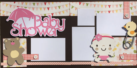 Baby Shower (pink) - 12x12 Scrapbook Page Kit