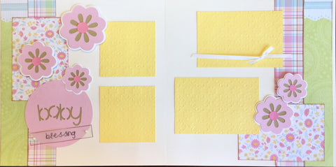 12x12 Premade Layout - Baby Blessing (pink)