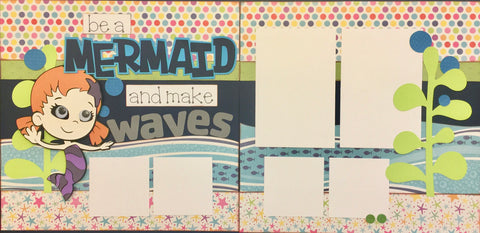 12x12 Premade Layout - Be a Mermaid & make waves