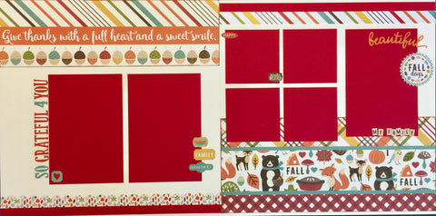 12x12 Premade Layout - Give thanks with a full heart and a sweet smile